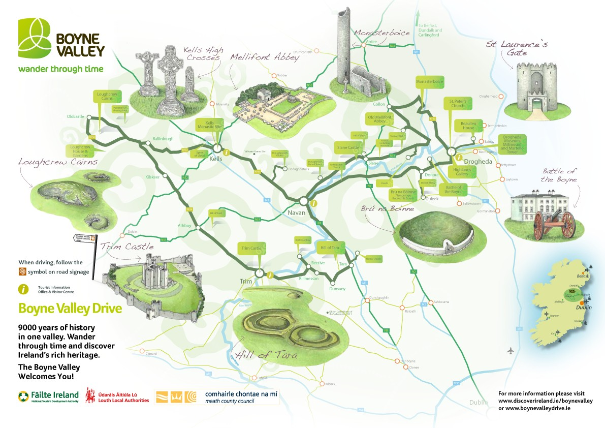 photo about Printable Road Map of Ireland referred to as Interactive Map of the Boyne Valley